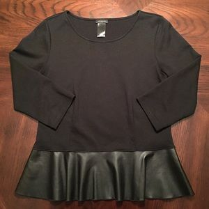 Ann Taylor Peplum Top with Faux Leather